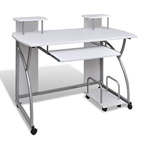 WMicroFR Blanc Table de bureau pour ordinateur deux étages avec roulettes