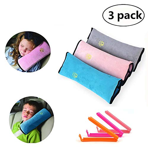 Yizeda cuscino per cintura di sicurezza per bambini   cuscino per cintura di sicurezza per bambini 3 pezzi   cuscino per cuscino universale per seggiolino auto   cuscino da viaggio per auto, rivestimento lavabile, poggiatesta rosa grigio blu (3 colori) (colorato) (colorato)