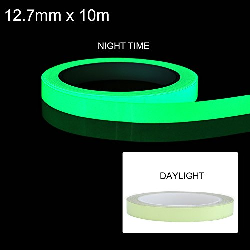 Jingxu Hochwertige 10m*12.7mm Fluoreszierendes Phosphor Klebeband Markierungsband Selbstklebendem Band Wasserdicht Luminous Tape Warnband Leuchtband - Wand Leuchtende Farbe