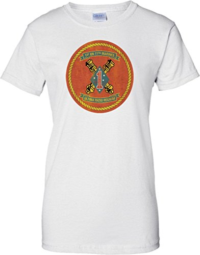 USMC 1st Bn 11th Marines - Ladies T Shirt - White - 12 (11th T-shirt Airborne)
