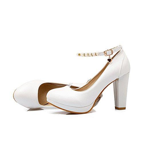 AllhqFashion Femme Boucle Pu Cuir Rond à Talon Haut Couleur Unie Chaussures Légeres Blanc
