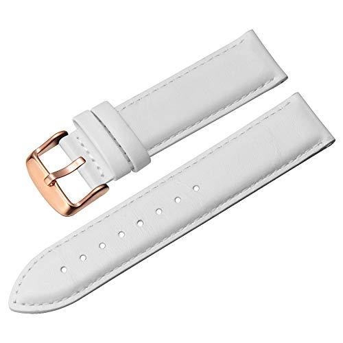 Weiß Uhrenarmband Rplacement 16mm echtes Leder-Uhrenarmband-Armband-Armband für Frauen