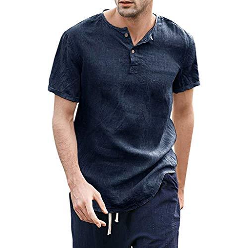 Xmiral Herren T-Shirt Cooles Dünnes Atmungsaktives Hemd aus Einfarbiger mit kurzen Ärmeln Summer Komfort Sweatshirt Sportshirt(Marine (Asiatische Joker Kostüm)