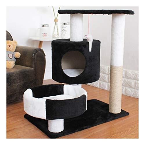 Pet Cuisine Albero Tiragraffi, Cat Tree Tower Condo Mobili for Gattini con tiragraffi Rivestiti in sisal, 5 Colori (Color : Black)