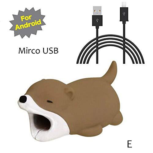 TAOtTAO Mrico USB & Type C Datenzeilenkombination Datenkabel enthalten Kabel-Schnur-Schutz-Schutz-Unterstützung, prevently kreatives nettes Tierkabel-Biss für iPhone Kabel-Schnur-Telefon-Zusatz schützt (E, Mrico USB(Schwarz))