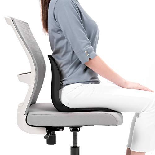 Lumbix Stabile Rückenstütze für geraden Rücken Bodenstuhl und Geradehalter für Bürostuhl, Sofa, Boden, Stuhl - Moderne Lordosenstütze zur Haltungskorrektur - Sitzlehne in schwarz
