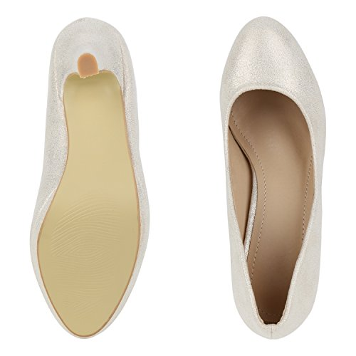 napoli-fashion Damen Pumps High Heels Übergrößen Party Schuhe Metallic Abendschuhe Glitzer Pailletten Lack Absatzschuhe Plateauschuhe Jennika Gold Total