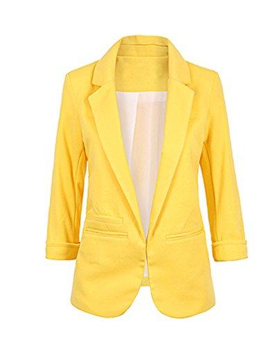 Chaqueta de Traje de Negocios para Mujer Blazers Manga 3/4 Slim Fit Elegante Blázer Amarillo XS