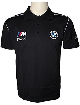 BMW M POWER LOGOTIPO BORDADO Polos Hombres Negro Camiseta de algodón Polo Sport Auto