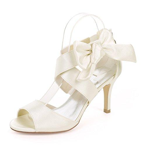 Hochzeit Schuhe Braut Damen Brautschuhe Elfenbein Bow Zehen öffnen High Heels Sandalen Partyschuhe Kleid Partei Wedding Pumps Hochzeitsschuhe Elegant 8.5CM,Ivory,38EU