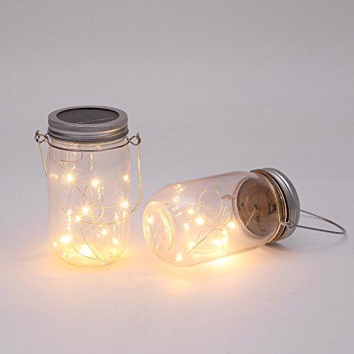 Solar Kunststoff Jar (Kunststoff Jar & Griff, die), 10 Leuchtmittel warnen weiß Jar Hängeleuchte,...
