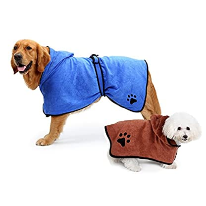 Zaote Microfibre Dog Towel Super Absorbent Pet Dog Bathrobe Easy Wear Moisture Absorbing Ultra Soft Bathrobe For… 2