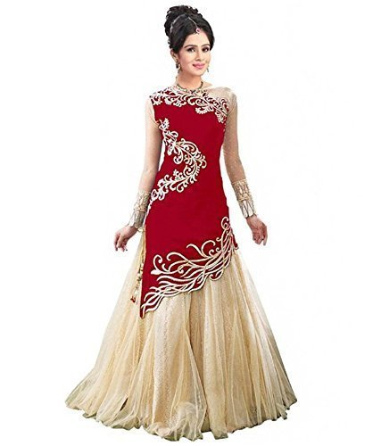 Sky Global Women's Red Georgette Embroidered Semi-stitched Lehenga and with pant Material (Unstitched) (Dress_189_FreeSize_Red)