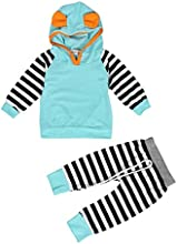 ZARU Navidad Boy Niña Niño rayado con capucha para niños Trajes juego de ropa (1PC Top + 1PC Pant) 0 a 2 años