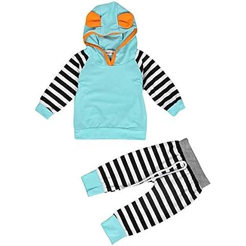 ZARU Navidad Boy Niña Niño rayado con capucha para niños Trajes juego de ropa (1PC Top + 1PC Pant) 0 a 2