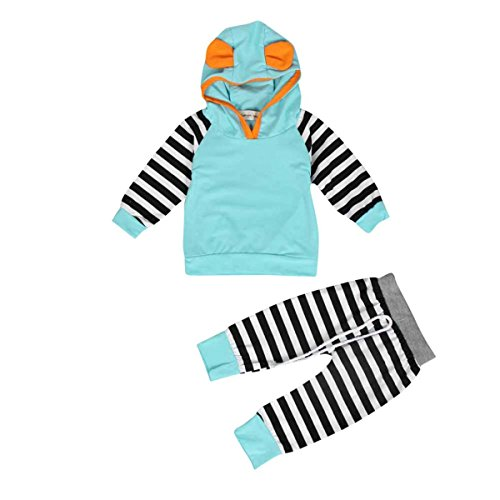 ZARU Navidad Boy Niña Niño rayado con capucha para niños Trajes juego de ropa (1PC Top + 1PC Pant) 0 a 2 años (80, Azul)