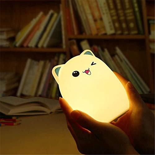 PDDXBB Led Cartoon Nachtlicht Mit Silikon Touch Sensor Für Kinder Nachtlicht Led USB Kinder Led RGB 24 Schlüssel Fernbedienung Blau 10 * 10 * 13,5 cm (Touch) - Box Die Blue Die Haben Engel