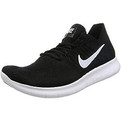Nike Free Rn Flyknit 2017, Zapatillas de Running Hombre, Negro (Black/White/Black), 45.5 EU
