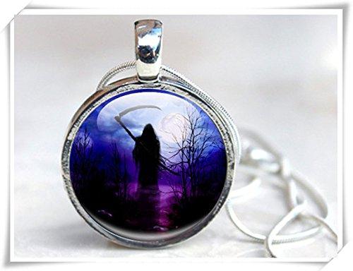 Halloween grim reaper necklace pendant necklace, goth silhouette morte di gioielli foto collana ciondolo