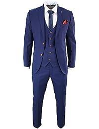 Costume 3 pièces homme bleu 2 tons coupe cintrée chic festif mariages d7d6454b35e