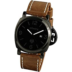 INFANTRY® Mens Analogue Quartz Wrist Watch Date Display Black Dial Military Brown Leather Strap