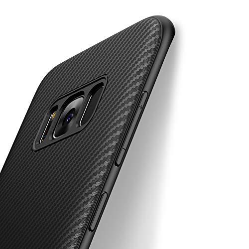 J Jecent Galaxy S8 Hülle Handyhülle für Samsung, [Kohlefaser Textur-Design] Soft TPU Silikon Gel Bumper Case, Staubschutz, Hochwertigem Stoßfest, Kratzfest Cover - Schwarz