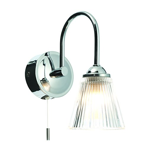 Pair of modern chrome clear ribbed glass ip44 bathroom wall lights with pull cord switch by