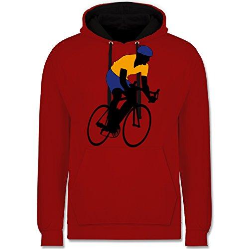 Radsport - Rennradfahrer - Kontrast Hoodie Rot/Schwarz