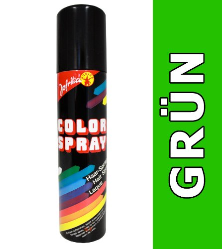 NET TOYS Farbiges Haarspray grün Haarcoloration grünes Haar Spray Colorspray Karneval Haarsprays Colorsprays Haarcolorationen