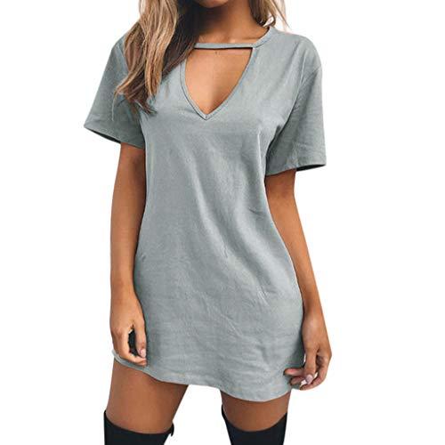 Moonuy Summer Damen Kurzarm Dress Damen Sommer lose Dress Choker v-Ausschnitt Lange Tops t-Shirt Damen Casual Party Mini Dress Bluse