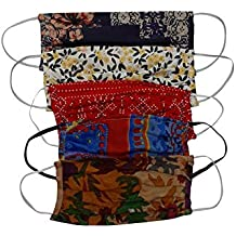Aditi Wasan AW-MSKDRCT011-5 Unisex Pack of 5 Outdoor Double Layer Soft Cotton Multi-color Printed Fashion Cloth Masks - Assorted Colors & Prints