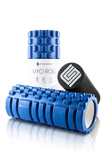 STRONGEAR® Myo Roll - 2 in 1 Faszienrolle mit großer Anleitung - Faszien-Training und Triggerpunkt Behandlung, Selbst-Massage, Schaumstoffrolle, Yoga Fitness Foam-Roller, Faszienroller, weich und hart