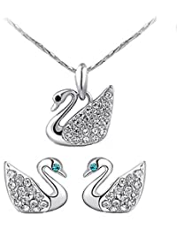 Fabula Jewellery Silver Plated Zirconia Pendant Set With Matching Stud Earrings For Women & Girls Stellar Fine...