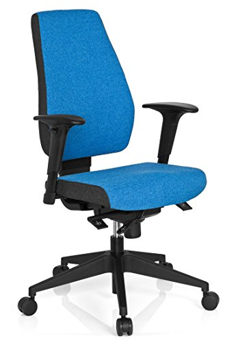 hjh OFFICE 608823 Bürostuhl Drehstuhl PRO-TEC 500 Stoff dunkelgrau hellblau, Bürodrehstuhl ergonomisch, gute feste Polsterung, Rückenlehne höhenverstellbar, verstellbare Armlehnen, Schreibtischstuhl - Verstellbare Armlehnen