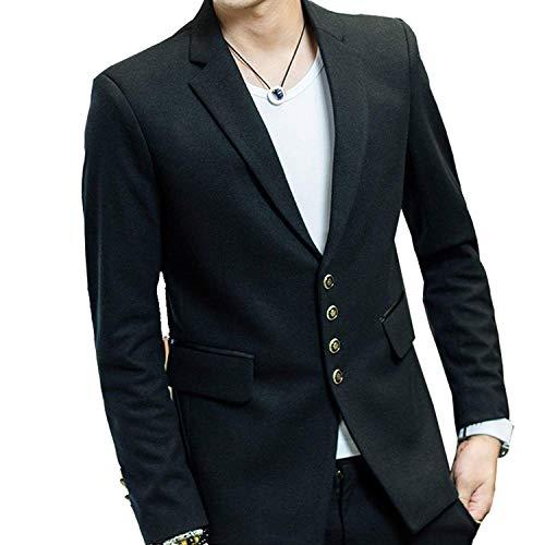 Blazer Herren Mens Luxury Blend Velvet Trim Collar Casual Bequeme Größen Anzugjacken Formal Business Coat Stilvolle Kleidung (Color : Schwarz, Size : XL) Velvet Trim Mantel