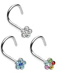 Nose piercing screws studs Gem FLOWERS (Pack Of 3) Clear, Aqua, Rainbow, 316L Surgical Steel
