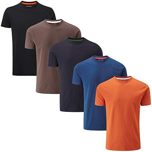 Charles Wilson 5er Packung Einfarbige T-Shirts mit Rundhalsausschnitt (Large, Dark Essentials Type 42)