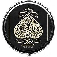 LinJxLee Poker Heart Round Pill Case Pill Box Tablet Vitamin Organizer Easy to Carry preisvergleich bei billige-tabletten.eu