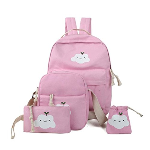 fille-sacs-costume-clouds-mode-cartable-sac-main-quatre-pices-rose