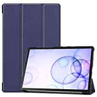 Guteck Case Fits Samsung Galaxy Tab S6 10.5 2019 - Tri-Fold Ultra Lightweight Standing Protective Smart Cover with Auto Wake/Sleep compatible for T860/T865 2019 Tablet (Navy Blue)