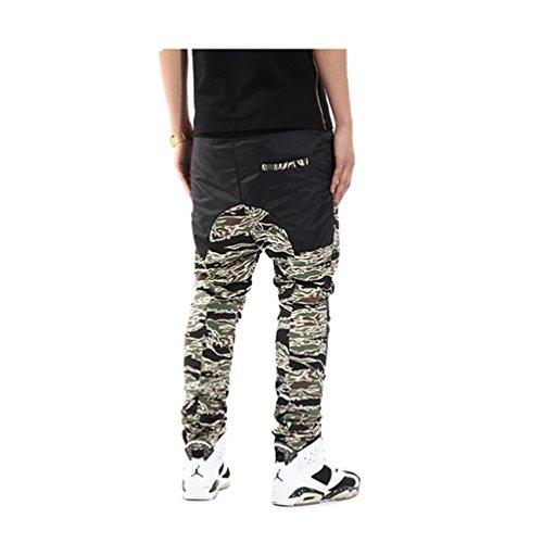 Pizoff Herren Hip Hop Harem Jogginghose aus gestepptem Hochglanz-Jersey Y0260-Camo