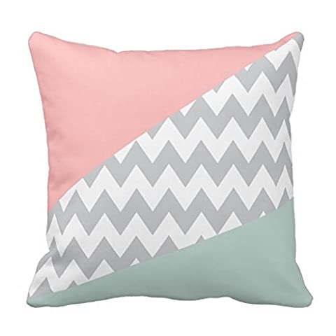 Grey Chevron Decorative Mint and Coral Throw Pillow Case 18x18 inch for Sofa 18x18