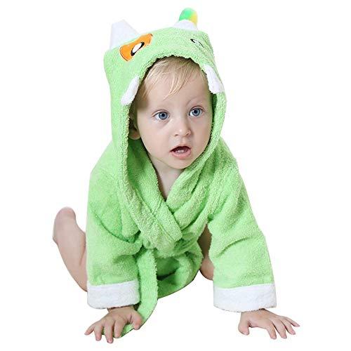 Baby Jungen Mädchen Tier Cartoon Bademantel Schlafanzüge Neugeborenes Kleinkind Weich Fleece Nachtwäsche Outfit mit Kapuze 0-2 Jahre (Grün, OneSize)