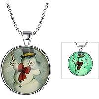 lureme® Noctilucent Gem Series Luminous Natale Snowman Pendant Collana(01004151-2)