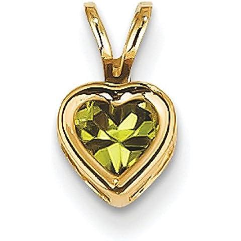 14 k con castone in Peridot, 5 mm, a forma di cuore con pendente, (Peridot Forma Di Cuore Ciondolo)