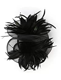 Fascinator Hat Feather Mesh Net Velo Party Hat Ascot Cappelli Flower Derby Hat  con Clip e 73be37cf5b7f