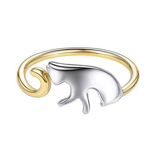 SILVERCUTE Katze Ring Damen verstellbar Silber Ring Gelbgold überzogen Kätzchen Offener Ring zweifarbig 925 Sterlingsilber Heimtier Ring Schmuck für Mädchen Geburtstag Weihnachten Geschenk