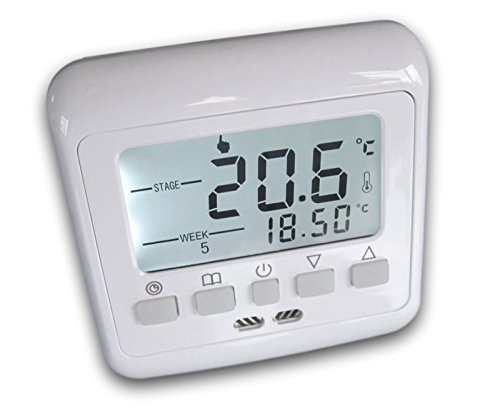 SM-PC®, 24V Raumthermostat Thermostat programmierbar Digital weiße Hintergrundbeleuchtung #843 -