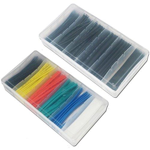200 Teile Schrumpfschlauch sortierte 100 Teile in schwarz und 100 Teile in Frabe - Hitzeschrumpfschlauch Set in einer Box by DURSHANI