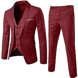 Traje de 3 Piezas con Chaqueta - Chaleco y Pantalones - Hombre - Cuadros Ajuste Moderno Vino Rojo M